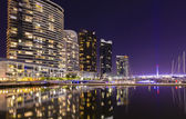 Modern apartments in Docklands, Melbourne at night — Stock Photo