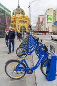 Bikes from the Melbourne Bike Share programme parking at Federation Square, Melbourne — Stock Photo