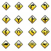 Yellow road signs, traffic signs vector set on white background — Stock Vector