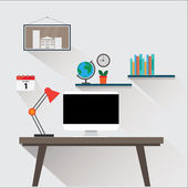 Illustration of modern workplace in room. Flat minimalistic style design — Stock Vector