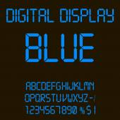 Illustration of a colorful Blue digital led font. — Stock Vector