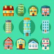 Flat Collection of City and Town Buildings — Stock Vector #73354879