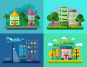 Urban and Village Landscapes — Stock Vector