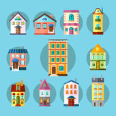 Flat Collection of City and Town Buildings — Stockvector