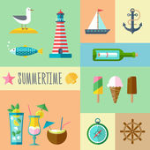 Summertime Icon Set — Stock Vector