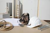 Building equipment, hardware and building plan — Stock Photo