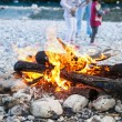 Family enjoying time by the river and self-made campfire — Stock Photo #78010134
