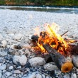 Self-made campfire by the mountain river — Stock Photo #78010168