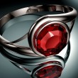 Silver ring with red Ruby stone — Stock Photo #72812241