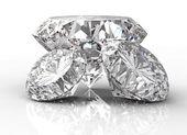 Three diamonds isolated on white — Stock Photo