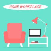 Casa sul posto di lavoro all'interno di salotto — Vettoriale Stock