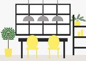 Modern dining room interior design — Stock Vector