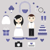 Wedding elements set. Bride, groom, wedding dress, present, cake, invitation, flowers, rings and other objects. — Stock Vector