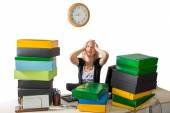 Stressed working woman — Stock Photo