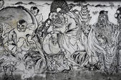 Penang street art - Depiction of Chinese mythical god — Stock Photo