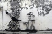 Penang street art - Lebuh canon — Stock Photo