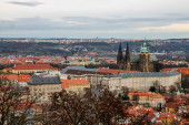 Panorama of Prague from the Petrin tower at cloudy day — Stock Photo