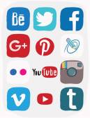 Facebook, instagram, google plus icon of social media, color doodle — Stock Photo