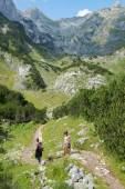 Two Hikers On Path Of Durmitor National Park, Montenegro — Stock Photo