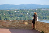 Woman Looking From Petrovaradin Fortress, Serbia  — Stock Photo