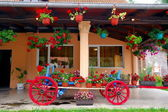 Wagon Filled With Flower Pots, Serbia — Stock Photo
