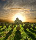 Church Cemetery At The Sunset, Serbia — Stock Photo