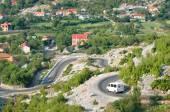 Minibus On The Road Around Razem, Albania — Stock Photo