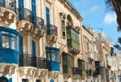 Baroque Facades And Traditional Balconies In Valletta Street — Stock Photo