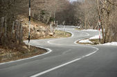 Road winding mountain crosses the wood — Stock Photo