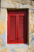 Window With Red Shutter Closed — Stock Photo