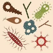 Cartoon various microbes — Stock Vector