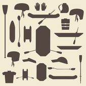 Rafting sport items silhouette icon set. Oar and paddle rafts. Cataraft and inflatable kayak.  . Paddles and helmets. Whitewater rafting.  Editable and web design suitable. — Stock Vector