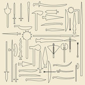Medieval weaponry  linear icons illustration. — Stockvektor