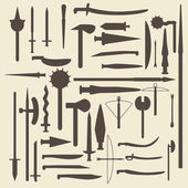 Medieval weaponry silhouette icons set. Perfect for web design vector illustration. — Stockvektor