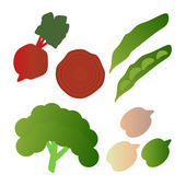 Kale, broad beans, beets,  isolated on white background. Editable and design suitable vector illustration.  — Wektor stockowy