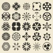25 design  element set. Twenty five sample object collection.  Round, floral,  geometrical, tribal and ethnic motif ornament. Editable and color ready. — Stock Vector