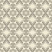 Geometric ornament seamless pattern.  Monochrome design template seamless background. Round, polygonal and grunge motif endless texture.  — Vettoriale Stock