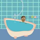 African american female in bathroom. — Stock Vector