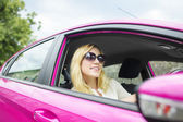 Woman in new car. — Stock Photo