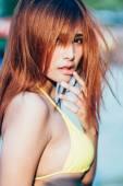 Sexy asian girl, vintage film style — Stock fotografie