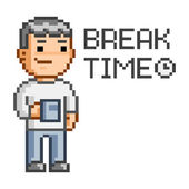 Pixel art Break time — Stock Vector