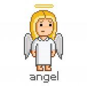 Pixel girl angel — Stock Vector