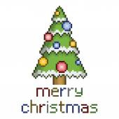 Pixel christmas tree with ornaments — Stock Vector