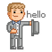 Pixel man in a suit says hello — Stock Vector
