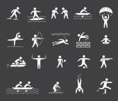 Silhouette figures of athletes popular sports — Stock Vector