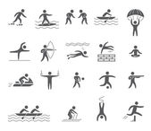 Silhouettes figures of athletes — Stock Vector