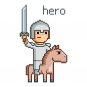 Pixel hero for 8 bit video game — Stock Vector