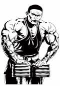 Bodybuilder workout hard — Stock Photo