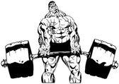 Muscular bodybuilder workuot with weight — Stock Photo