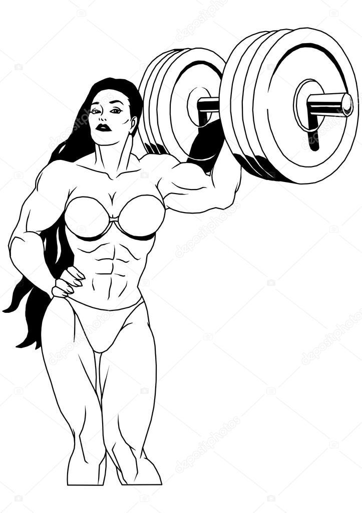 运动女生 手绘q版
